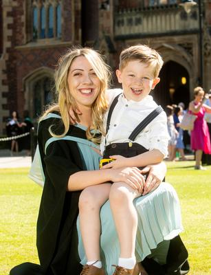 Rebecca Finlay is pictured celebrating with her son Reuben after she graduated from Queen's University Belfast with a degree in Theology.