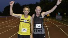 Davy Clark and Tommy Hughes at the 3000 metres event held at Mary Peters track