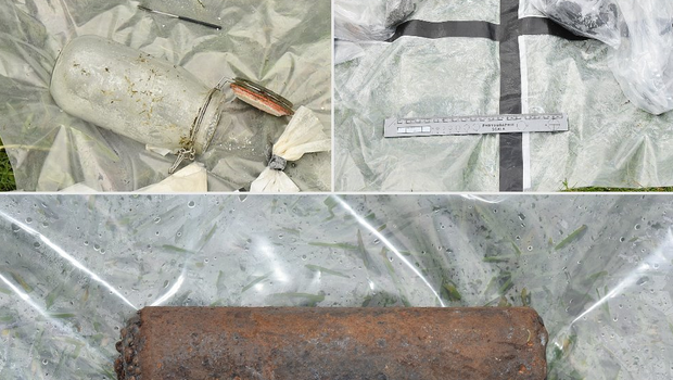 A suspected pipe bomb case and other equipment that were seized. Credit: PSNI