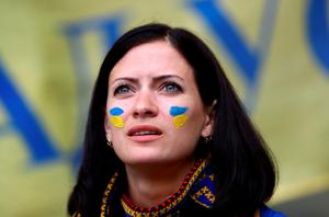 LILLE, FRANCE - JUNE 12:  An Ukraine fan is seen prior to the UEFA EURO 2016 Group C match between Germany and Ukraine at Stade Pierre-Mauroy on June 12, 2016 in Lille, France.  (Photo by Clive Mason/Getty Images)