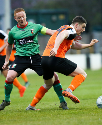 Midfielder Stephen McAlorum (left) was released by Glentoran and has signed for Ballymena United.