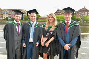 Pictured at Ulster University Summer Graduation 2017 at the Waterfront Hall are Matthew McNeeley, Mark Brennan, Sarah Murphy and Andrew Fergie who Graduated in Computer Technologies. Photo by simongraham.photography.