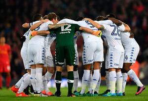 LIVERPOOL, ENGLAND - NOVEMBER 29:  Leeds players huddle prior to the EFL Cup Quarter-Final match between Liverpool and Leeds United at Anfield on November 29, 2016 in Liverpool, England.  (Photo by Laurence Griffiths/Getty Images)