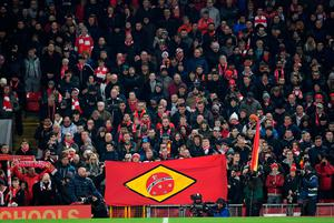 LIVERPOOL, ENGLAND - NOVEMBER 29:  Liverpool fans hold a Brazilian style flag as they observe a minutes silence for the victims of the plane crash involving the Brazilian club Chapecoense prior to the EFL Cup Quarter-Final match between Liverpool and Leeds United at Anfield on November 29, 2016 in Liverpool, England.  (Photo by Laurence Griffiths/Getty Images)