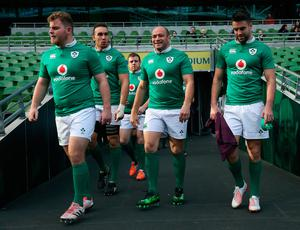 Ireland players (from left) Finlay Bealham, Ultan Dillane, Sean Cronin, Rory Best and Conor Murray arrive for the captain's run at the Aviva Stadium, Dublin. PA
