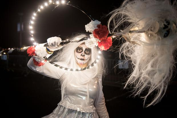 The annual Halloween Carnival reached a dramatic conclusion on Thursday night as the annual Carnival Parade and fireworks display took place along the banks of the River Foyle which drew an audience of tens of thousands. Picture Martin McKeown. 31.10.19