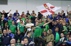 Pacemaker Belfast 8-10-16 Northern Ireland v San Marino - World Cup Qualifier Northern Ireland's fans enjoy the half-time entertainment during this evenings game at the National Stadium, Belfast.  Photo by David Maginnis/Pacemaker Press
