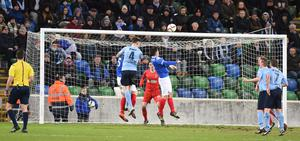 PACEMAKER BELFAST   12/01/2016 Linfield v Ballymena United  Co Antrim Shield final Ballymenas Paddy McNally scores during this evenings game at Windsor park in Belfast. Photo Charles McQuillan/Pacemaker Press