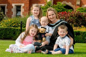Mum-of-four Rebekah Smallwood is graduating from Queen's University with a degree in Psychology. From South Belfast, Rebekah left school at 15 without any qualifications but after undertaking an access course, she applied for a place at Queen's. During the second year of her studies, Rebekah had her fourth child and with the support of her family and university staff, she managed to juggle studies and motherhood.
