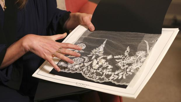 A piece of lace that shows the type of embroidery on Meghan's veil (Hannah Mckay/PA)