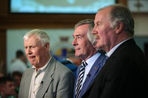 Northern Ireland football legends Peter McParland, Pat Jennings and Billy Hamilton at the squad announcement. Photo by Kelvin Boyes / Press Eye.