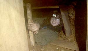 One of the protesters, Blue Sandford, 18, in part of the tunnel network (HS2 Rebellion/PA)