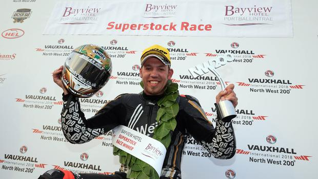 North West 200 2018 Peter Hickman (60) celebrates his first ever North West 200 winthis during this evenings Superstock race in the Vauxhall International North West 200. Photo Stephen Davison/Pacemaker Press
