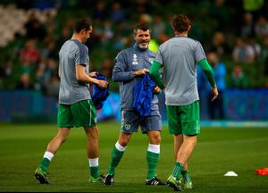 DUBLIN, IRELAND - OCTOBER 08:  Roy Keane assistant manager of the Republic of Ireland collects bibs from the players prior to the UEFA EURO 2016 Qualifier group D match between Republic of Ireland and Germany at the Aviva Stadium on October 8, 2015 in Dublin, Ireland.  (Photo by Ian Walton/Getty Images)