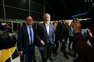 Press Eye - Belfast - Northern Ireland - 8th June 2017 -  Westminster General Election 2017 Paul Maskey, left, with Sinn Fein leader Gerry Adams  pictured at the election count at Titanic Exhibition Centre Belfast for Belfast South, Belfast West, Belfast East and Belfast North. Photo by Kelvin Boyes / Press Eye.