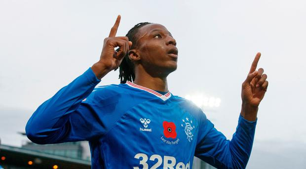 Rangers Joe Aribo celebrates scoring his side's first goal of the game during the Ladbrokes Scottish Premiership match at the Tony Macaroni Arena, Livingston. PA Photo. Picture date: Sunday November 10, 2019.