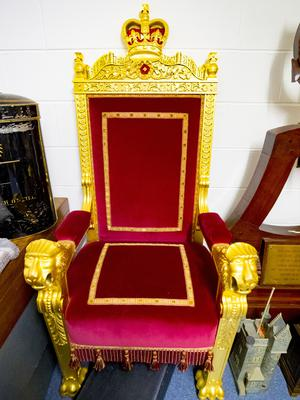 A throne   Stormont art work at a lock up on the outskirts of Belfast on May 10th 2018 (Photo by Kevin Scott / Belfast Telegraph)
