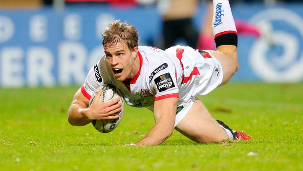 Andrew Trimble goes over for an Ulster try