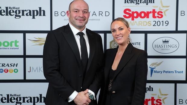 Press Eye - Belfast - Northern Ireland - 20th January  2020   Rory Best with Tatia Rea pictured at the 2019 Belfast Telegraph Sport Awards at the Crowne Plaza Hotel in Belfast.  Photo by Kelvin Boyes / Press Eye.