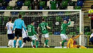 Northern Ireland's score during the Euro Qualifier in Belfast on November 12th 2020 (Photo by Kevin Scott for Belfast Telegraph)