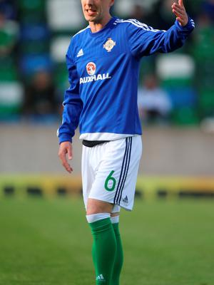 Northern Ireland's Chris Baird before the International Friendly at Windsor Park, Belfast. PRESS ASSOCIATION Photo. Picture date: Friday May 27, 2016. See PA story SOCCER N Ireland. Photo credit should read: Niall Carson/PA Wire. RESTRICTIONS: Editorial use only, No commercial use without prior permission, please contact PA Images for further information: Tel: +44 (0) 115 8447447.