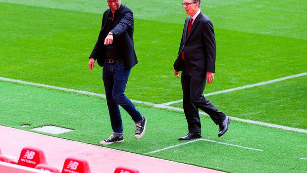 LIVERPOOL, ENGLAND - SEPTEMBER 09: Liverpool's manager Jurgen Klopp and club owner John W Henry during the opening of  the new stand and facilities  at Anfield on September 9, 2016 in Liverpool, England. (Photo by Barrington Coombs/Getty Images)