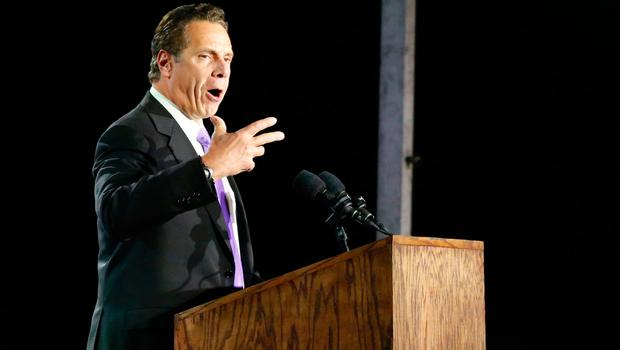 New York governor Andrew Cuomo speaks in support of Democratic presidential nominee Hillary Clinton during election night outside the Jacob K. Javits Convention Center in New York on November 8, 2016.  / AFP PHOTO / Kena BetancurKENA BETANCUR/AFP/Getty Images