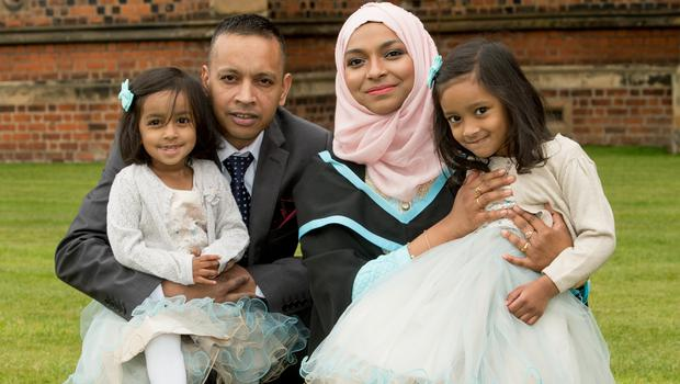 Queen's University Belfast School of Pharmacy graduate Mahbuba Kalam is pictured with her husband Kalam Abdul and daughters Annah (4) and Ayaat (2). The family are originally from Bangladesh and now living in Co Down. Queen's University Belfast is 2nd in UK for Pharmacology and Pharmacy.