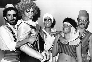 Members of the Belmont Presbyterian Church Guild staging Ali baba and the 40 Thieves. Pictured in a scene from the pantomime are (from left) Paul Blease, as Mustapha Dubbhal, Gary Cooper as Selina Ali Baba, Karla Gordon as Hassan, Sharon Weir as Jasmine and Jonathan Bill as Grab Ali Khan. 13/12/1984
