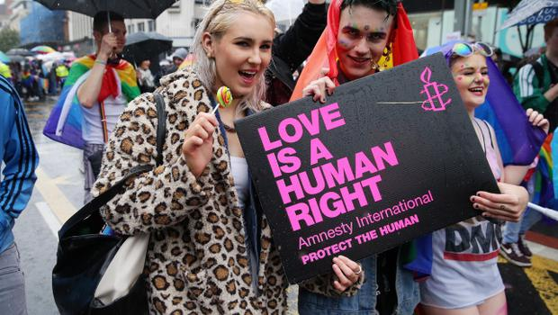 Press Eye - Belfast - Northern Ireland - 2nd August 2014 - Picture by Kelvin Boyes  / Press Eye.  General view of the 2014 Belfast Pride parade in Belfast city centre this afternoon.  Thousands of people attended the annual Gay Pride parade in Belfast city centre.  Now in its 24th year, the Belfast parade is claimed to be the largest of its kind on the island of Ireland.  The parade will left Custom House Square and make its way through the city centre.