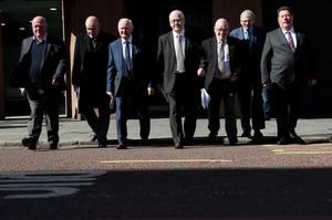 Seven of the 14 Hooded Men – Jim Auld (l to r), Patrick McNally, Liam Shannon, Francie McGuigan, Davy Rodgers, Brian Turley and Joe Clarke (Brian Lawless/PA)