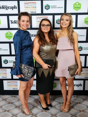 Press Eye - Belfast - Northern Ireland - 2nd February 2017 -    NI Year of Food & Drink Awards at the Culloden Hotel.  Mollie Cunningham, Chloe McCullough and Kelly Millar pictured at the NI Year of Food & Drink Awards at the Culloden Hotel.  Photo by Kelvin Boyes / Press Eye.