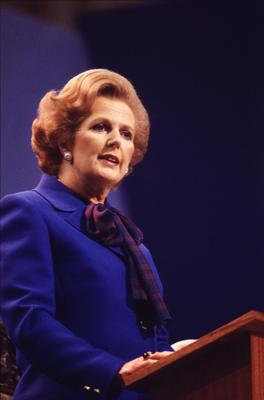 1980: (FILE PHOTO)  Baroness Margaret Thatcher, 85, Britain's Prime Minister from 1979 to 1990, Reports on April 8, 2013 state that Baroness Thatcher has died following a stroke..  British Conservative politician and first woman to hold the office of Prime Minister of Great Britain Margaret Thatcher speaks at the Tory Party Conference on in Brighton, East Sussex circa 1980.  (Photo by Keystone/Getty Images)