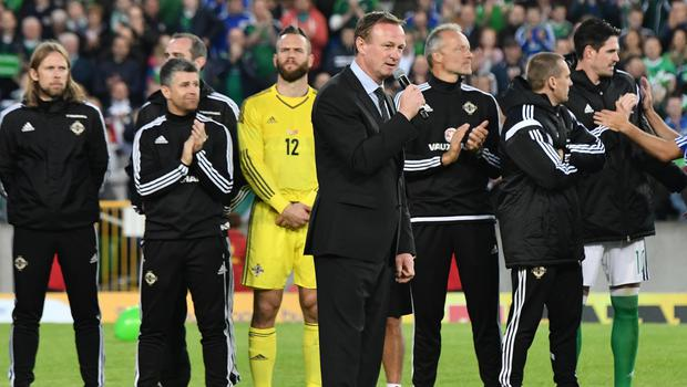 PACEMAKER BELFAST   27/05/2016 Northern Ireland v Belarus  Friendly International Northern Ireland  Manager Michael O'Neill  after  this evenings Friendly International at Windsor park. Photo Colm Lenaghan/Pacemaker Press