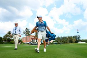 Rory McIlroy strides off the 10th tee at Seminole Golf Club, where his father Gerry is a member.