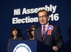 Newly elected DUP MLA for Belfast South, Christopher Stalford speaks at the Titanic Exhibition Centre in the Northern Ireland Assembly Elections. Liam McBurney/PA Wire