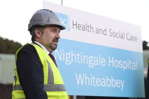 Health Minister Robin Swann visiting the new Nightingale Hospital in Whiteabbey. Picture: Michael Cooper