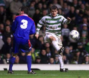 Lubomir Moravcik in action for Celtic.   (Photo by SNS Group via Getty Images)