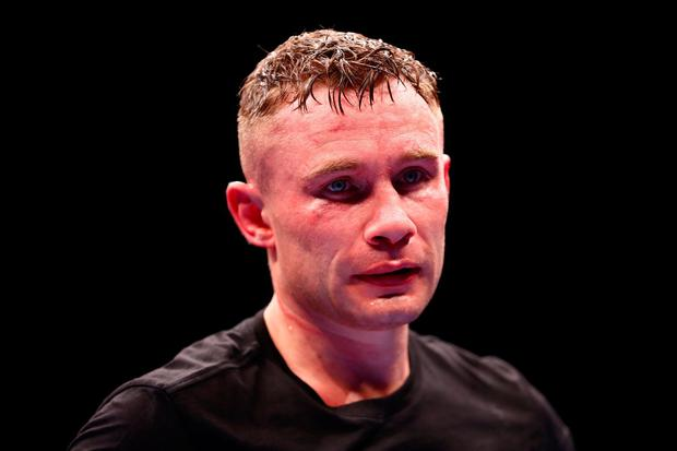 DUBAI, UNITED ARAB EMIRATES - APRIL 03: Carl Frampton of Northern Ireland reacts to defeat after the WBO World Super Featherweight Title Fight between Jamel Herring and Carl Frampton at The Rotunda at Caesars Palace on April 03, 2021 in Dubai, United Arab Emirates. (Photo by Francois Nel/Getty Images)