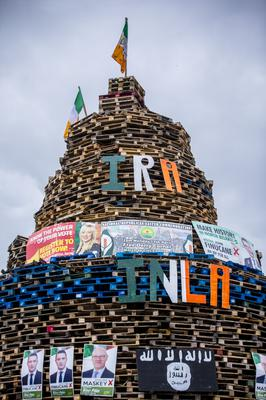 The Conway Street bonfire in West Belfast on July 10th 2017 (Photo by Kevin Scott / Belfast Telegraph)