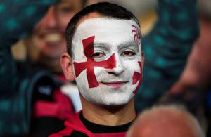 A Georgia supporter looks on  prior to a Pool C match of the 2015 Rugby World Cup between Namibia and Georgia at Sandy Park in Exeter, southwest England, on October 7, 2015.  AFP/Getty Images