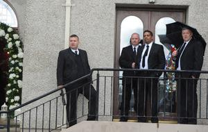 1/6/2013. Manchester United security staff watch over events at the wedding of Helen McConnell to Manchester United and Northern Ireland football star Jonny Evans at Clough Presbyterian Church in County Antrim this afternoon. Picture Charles McQuillan/Pacemaker.
