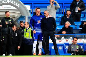"Chelsea's John Terry and Manchester United manager Jose Mourinho embrace on the touchline prior to the Premier League match at Stamford Bridge, London. PRESS ASSOCIATION Photo. Picture date: Sunday October 23, 2016. See PA story SOCCER Chelsea. Photo credit should read: John Walton/PA Wire. RESTRICTIONS: EDITORIAL USE ONLY No use with unauthorised audio, video, data, fixture lists, club/league logos or ""live"" services. Online in-match use limited to 75 images, no video emulation. No use in betting, games or single club/league/player publications."