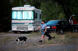CLEARLAKE OAKES, CA - AUGUST 04:  Evacuated resident Mira Gardner walks her dogs on the grounds of the Moose Lodge where several dozen Rocky Fire evacuees are staying on August 4, 2015 in Clearlake Oakes, California. Nearly 3,000 firefighters are battling the Rocky Fire that has burned 65,000 acres and has forced the evacuation of 12,000 residents in Lake County. The fire is currently 12 percent contained and has destroyed at least 14 homes. 6,300 homes are threatened by the fast moving blaze.  (Photo by Justin Sullivan/Getty Images)