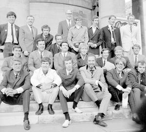 Sir Terry Wogan (second left on middle row) in 1967 with fellow disc jockeys ahead of the launch of the BBC's new Radio 1 and Radio 2 networks at Broadcasting House, London