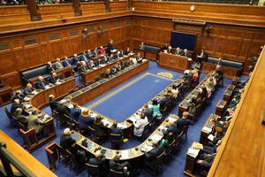 The Stormont Assembly sitting on Saturday.  Credit: Kevin Boyes, Press Eye