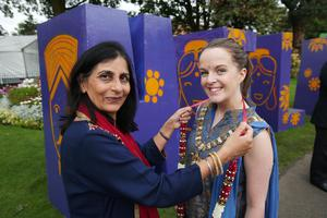 Lord Mayor, Councillor Nuala McAllister and Nisha Tandon from ArtsEkta at the Belfast Mela in Botanic Gardens, Belfast. With a blaze of colour and music the usually sedate Victorian gardens were transformed into an eclectic global village showcasing arts, culture and cuisine drawn from a wealth of nations, creating Northern Ireland's largest ever celebration of cultural diversity.  Photo by Kelvin Boyes / Press Eye.