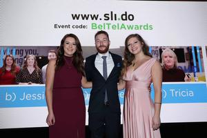 Press Eye - Belfast - Northern Ireland - 2nd May 2019 -   Emma McQuiggan, Ben Lindsay and Jessica Wilson pictured at the Belfast Telegraph Business Awards in association with Ulster Bank at the Crowne Plaza Hotel, Belfast. Photo by Kelvin Boyes / Press Eye.