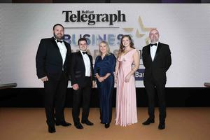 Press Eye - Belfast - Northern Ireland - 2nd May 2019 -   Stephen Beck, Harry Eves, Trisha McNeilly, Jessica Wilson and Paudie Fearon pictured at the Belfast Telegraph Business Awards in association with Ulster Bank at the Crowne Plaza Hotel, Belfast. Photo by Kelvin Boyes / Press Eye.