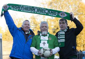 Press Eye - Belfast -  Northern Ireland - 11th October 2015 - Photo by William Cherry  Northern Ireland fans Bob Wylie, Paul Campbell and Bert Cullen before Sundays UEFA Euro 2016 Qualifier against Finland at at the Helsingin Olympiastadion in Helsinki.